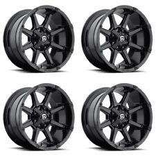 "Set 4 18"" Fuel Coupler D575 Black Wheels 18x9 6 Lug 6x135 6x5.5 Truck Rims +20mm"