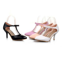 Womens T-Strap Shoes Synthetic Leather Slim Med Heels Pumps Sandals AU Size S905