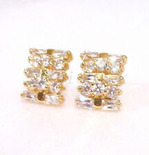fashion1uk Women's Square 18K Gold Plated Clear Simulated Diamond Stud Earrings