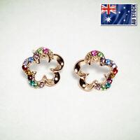 NEW 18K Rose Gold GP Flower Multi Colour Crystal Stud Earrings Womens Girls