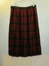 Vintage Wool Pendleton Size 18 Pleated A Line Red and Blue Tartan Skirt Usa Made