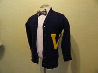 Men's Vintage 1950's Purple Pure Wool Varsity Letterman Cardigan Sweater Sz-40