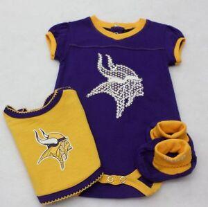 NFL Minnesota Vikings Newborn Girl Purple Bodysuit, Bib, and Booties 3-6 Months