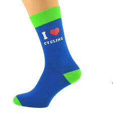 Azul Y Verde Lima Calcetines Unisex I Love Ciclismo UK Size 5-12 X6N626