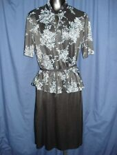 VTG Black Gray Floral Flowers Asian Retro Short Sleeve Dress 1Y18 Funky 80s 1980