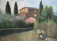 Nino Tirinnanzi litografia Paesaggio Toscano 70x50  firmata numerata 36/99 1974