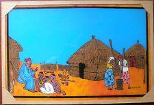 GRAND TABLEAU SOUS VERRE SENEGALAIS SCENE DE VIE AU VILLAGE ARTISANAT AFRIQUE