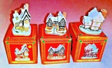 3 David Winter Cottages Christmas Ornament Tudor Fred Suffolk Village Houses