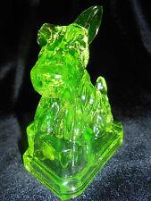 Green Vaseline uranium glass JB Scottie dog Scottish terrier candy container art