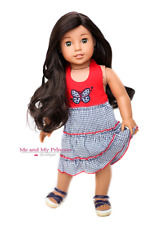 Patriotic Gingham Halter DRESS + SHOES Girl Clothes for 18 inch American Doll