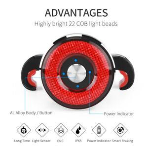 Smart BrakingTaillight Waterproof Bike USB LED Bicycle Lamp Saddle Rear Light