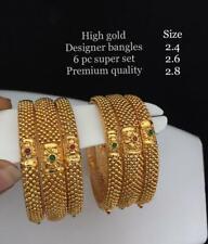 Indian Ethnic 6PC Gold Plated Kada Jewelry Pearl Bangles Bracelets Set Tanishqsd