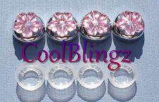 Lt. Pink Flower Rhinestone Screw Caps for Crystal Bling License Plate Frame