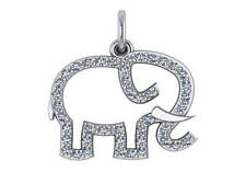 14k Yellow Gold Elephant Pendant With 0.25ct Diamond Necklace Charm