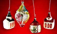 Authentic Vintage West German Glass Christmas Ornaments Set of 4