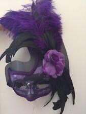 Women's Purple Venetian Masquerade Mask NEW  Mardi gras Theater Photo Booth Prop