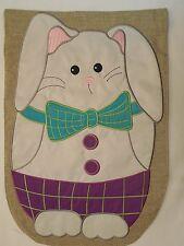 New listing Easter Bunny Burlap, Face on front, Hiding Carrot on back applique Garden flag
