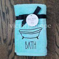 """NWT Rae Dunn Set of 2 """"BATH""""  Bath Hand Towels ~ Tiffany Blue"""