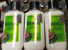 WAIKIKI BEACH COCONUT LOT OF 3 BODY LOTION SET BATH AND BODY WORKS