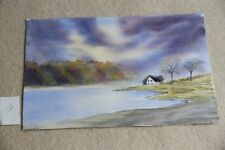 New Lake District View House on lake watercolour 52cm x 34cm unmounted unframed