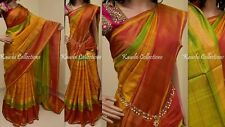 Yellow Uppada Zari Border Pure Silk Checks Saree Indian Anushka Pattu Trend Sari