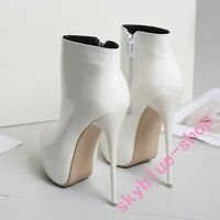 Ladies Stilettos Super High Heels Platform Patent Leather Boots Ankle Boots 2018