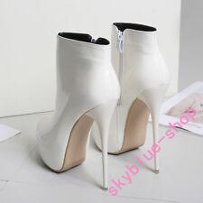 Womens Sexy Stilettos Super High Heels Platform Patent Leather Ankle Boots 2018