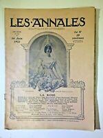 Les Annales N°1512 - 16 juin 1912 - avec Partition musique