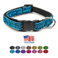 "Bark Boutique USA Made Fashion Sparkle Teacup Small Dog Puppy Pet Collar (7-11"")"