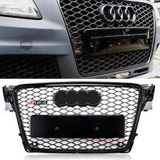 For 09-12 Audi A4 S4 B8 RS Style Honeycomb Type Mesh ABS Front Gloss Black Grill