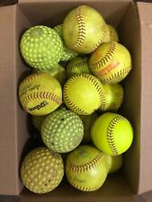 Lot of 18 used softballs (12 leather 6 practice)
