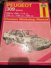 Haynes Owners Workshop Manual 1266 ,  Peugeot 309 Petrol 1986 to 1989 .