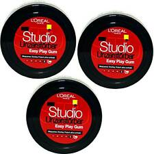 3x Loreal Studio Unzerstörbar Easy Play Gum Haargel Für Biegsame Stylings, 75ml