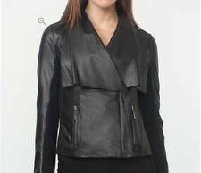 Women Black Soft Sheep Skin Real Stylish Draped Collar Leather Jacket