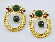 Ottomangems Semi joya preciosa piedra Pendientes De Oro Plateado Jade Hecho A Mano