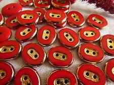lot 12 bouton en verre ovale rouge doré elégant vintage 1,2 sur 1,5 cm  ref 1452