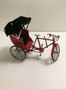 Vintage Trike Bicycle With Carriage Toy Black/Red/Silver Collectibles