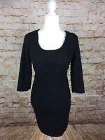 Max Studio Women's Small Black Ruffle Tiered Bodycon Dress 3/4 Sleeve (L)