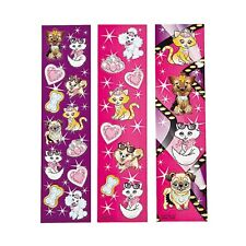 DOG FRIENDS PARTY Cat and Dogs Sticker Sheets Favour Pack of 12 Strips Free Post