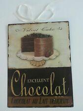WIE NEU Metallschild Chocolat Schokolade Torte braun Kuchen Metall Schild