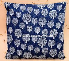 Indigo Blue Hand Printed Cushion Pillow Cover Cotton Pillow Sham Indian Boho