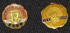 VINTAGE - TOLEDO SCALE COMPANY - 10 and 20 YEARS OF SERVICE PINS (2) - ORIGINAL
