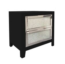 New Stunning Glitz Mirrored Black Glass Crushed 2 Drawer Chest Table Bed Side