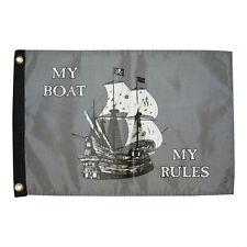 "Taylor Made 12"" x 18""  My Boat My Rules Perma-Print Nylon Flag Marine 1613"