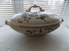 Antique Limoges Casserole with blue daisies