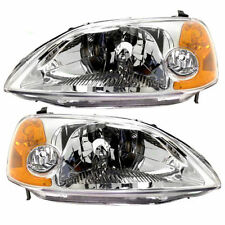 For 01-03 Honda Civic Coupe Headlights Pair Set Left & Right Lens&Housing
