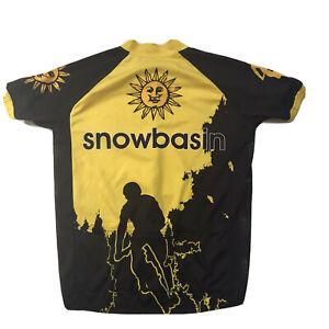 Road Bike Cycling Jersey Medium Snowbasin Suns Yellow Black Mountain Shirt M