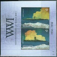 MICRONESIA 2014 100TH ANNIVERSARY OF WORLD WAR I  SUBMARINES  S/SHEET MINT NH