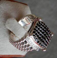 DAVID YURMAN SSilver Black & White Diamond 16mm x 12mm Wheaton Ring Size 7,25