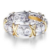White Sapphire 925 Sterling Silver Rings Women Men Wedding Jewelry Gift Size6-9